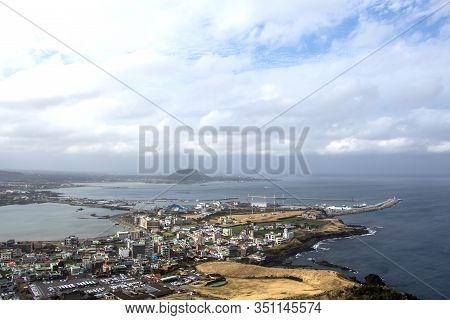 Jeju Island, Korea, January. 6, 2020: Jeju City, South Korea. View From Sunrise Peak.