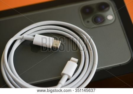 Shanghai, China: November 19, 2019: Brand New Usb-c Type To Lightning Fast Charging Cable Of With Ip