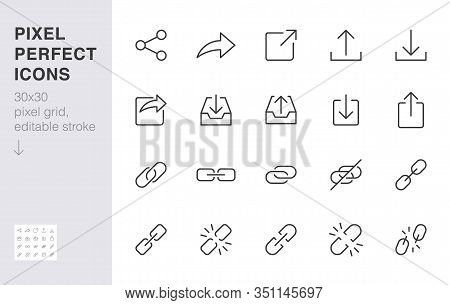 Share Button Line Icon Set. Link, Broken Hyperlink, Download, Publish, Attach Chain Minimal Vector I