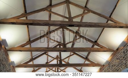 Traditional King Post Roof Truss With Open Tie Beams, Rafters, Top And Bottom Chords, King Post, Str
