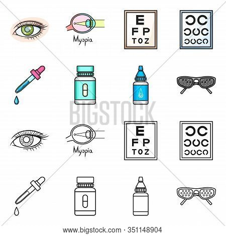 Vector Design Of Optometry And Medicine Logo. Collection Of Optometry And Diagnostic Stock Vector Il