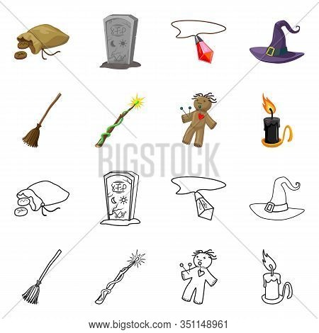 Vector Design Of Witchcraft And Mystic Icon. Set Of Witchcraft And Magic Stock Symbol For Web.