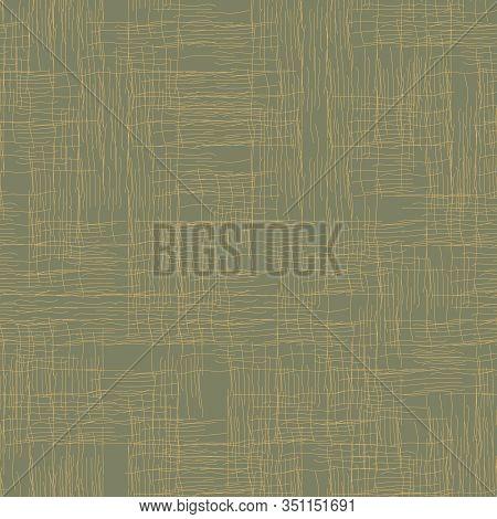 Green Linen Canvas Texture Seamless Vector Pattern. Minimal Surface Print Design. Rough Uneven Fabri