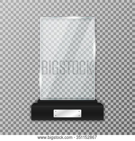 Glass Trophy Award On Black Stand. Realistic Glass Trophy In Rectangle Shape With Glares And Light.