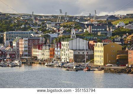 Torshavn City Town Harbor In Feroe Islands. Picturesque Old Houses