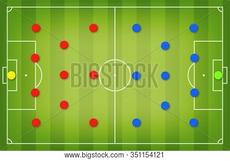 Football Tactic Board. Magnetic Board With Football Field Marking And Magnetic Pins, Soccer Tactic S