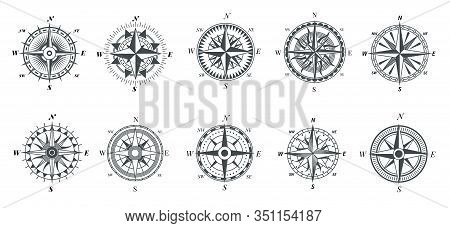 Wind Rose Compass. Vintage Marine Compasses, Nautical Sailing Navigation Travel Signs, Retro Arrows