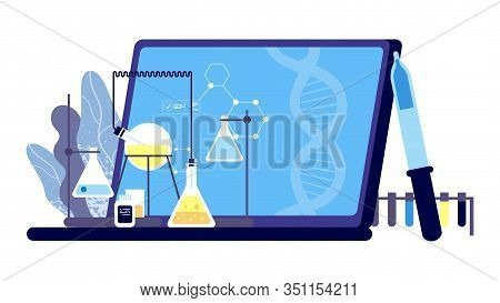 Clinical Research. Pharmaceutical Tests Illustration. Science And Medicine Vector Illustration. Labo