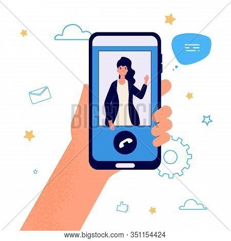 Hand Hold Phone. Video Call Illustration. Vector Smartphone Call. Girl Selfie, Woman With Phone. App