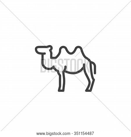 Bactrian Camel Line Icon. Linear Style Sign For Mobile Concept And Web Design. Two-humped Camel Outl
