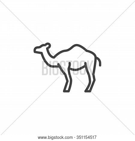 Dromedary Camel Line Icon. Linear Style Sign For Mobile Concept And Web Design. Arabian One-humped C