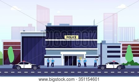 Police Station. City Police Department Building And Cops. Policeman Car At Office Security Exterior.