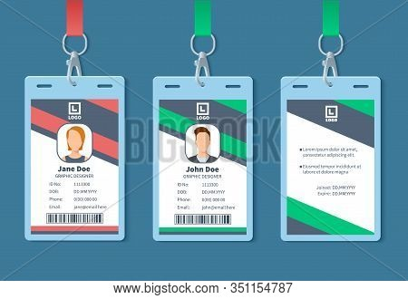 Id Card. Corporate Event Staff Badges, Identity Employee Name Label. Conference Membership Pass With