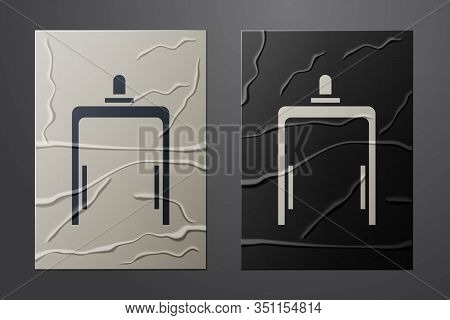 White Metal Detector In Airport Icon Isolated On Crumpled Paper Background. Airport Security Guard O