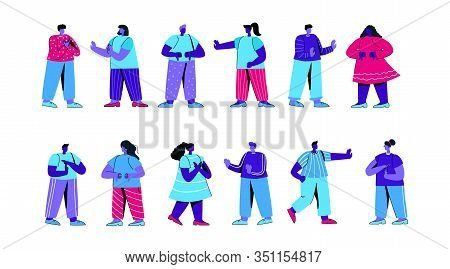 Set Of Cute Boys And Girls Showing Negative Gestures Or Expressing Emotions. Bundle Of Young Men And