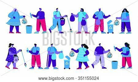 Set Of Men And Women Or Ecologists Picking Up, Collecting, Sorting And Disposing Garbage. Environmen
