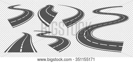 Bending Roads. Driving Asphalt Strip Road, Curve Highway Or Turn Pathway. Vector Set Grey Streets Pe