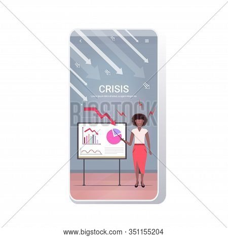 Angry Businesswoman Presenting Economic Arrow Falling Down On Flipchart Financial Crisis Bankruptcy