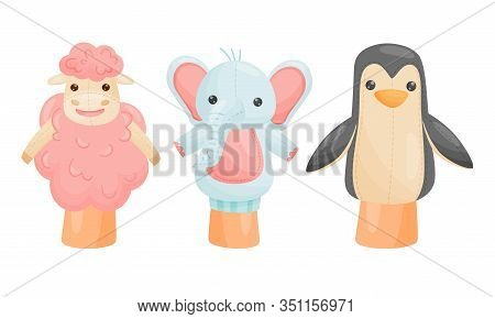 Hands With Animal Puppets On Top Of It Vector Set