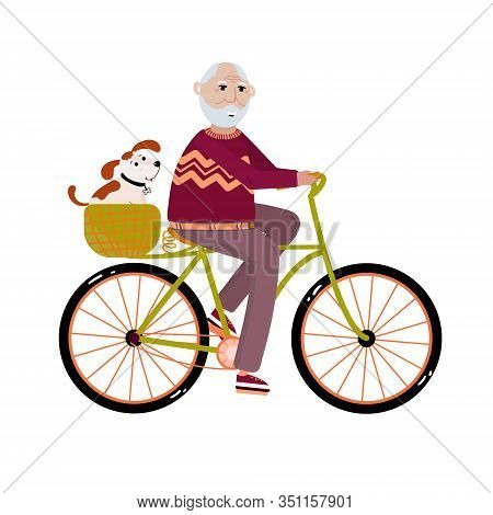 Old Man Activity. Senior Rides On Bicycle With His Dog. Healthy Activity Lifestyle For Retiree Conce
