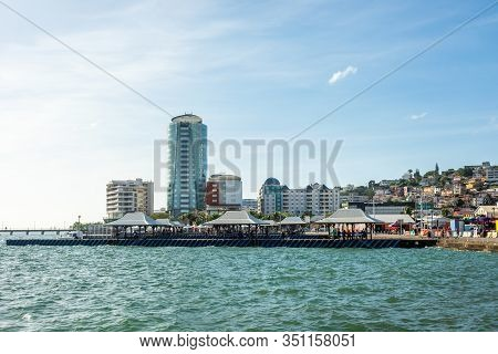 View From The Pier To City Downtown, Fort De France, Martinique, French Overseas Department