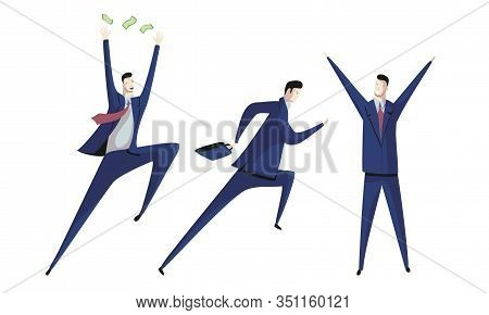 Professional Office Employee Wearing Formal Suit Raising His Hands Up In Triumph Vector Illustration
