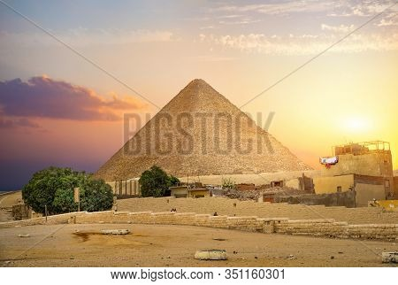 Sunset Over Pyramid Of Cheops In Giza, Egypt