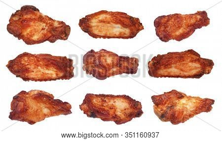 Grilled chicken wings traditional tasty delicious meat meal pieces isolated on white background