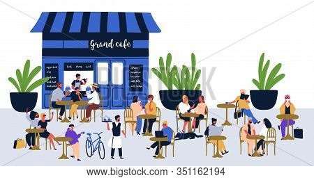 Diverse People Visitors Sitting At Street Cafe Vector Flat Illustration. Relaxed Cartoon Characters