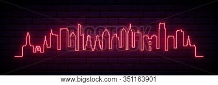 Red Neon Skyline Of Philadelphia City. Bright Philadelphia Long Banner. Vector Illustration.