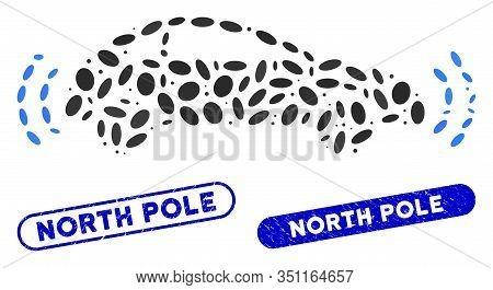 Collage Autonomous Car And Rubber Stamp Seals With North Pole Caption. Mosaic Vector Autonomous Car