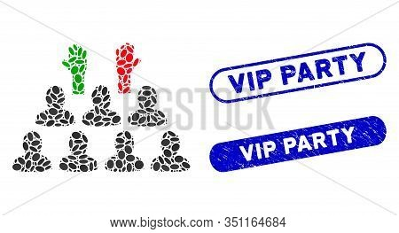 Mosaic Democratization And Grunge Stamp Seals With Vip Party Text. Mosaic Vector Democratization Is