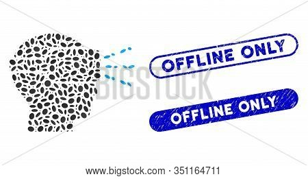 Mosaic Virtual Reality And Distressed Stamp Seals With Offline Only Caption. Mosaic Vector Virtual R