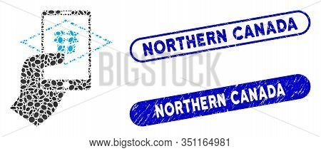 Mosaic Extended Reality And Rubber Stamp Seals With Northern Canada Caption. Mosaic Vector Extended