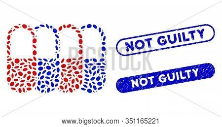 Mosaic Generic Pharma And Grunge Stamp Seals With Not Guilty Caption. Mosaic Vector Generic Pharma I