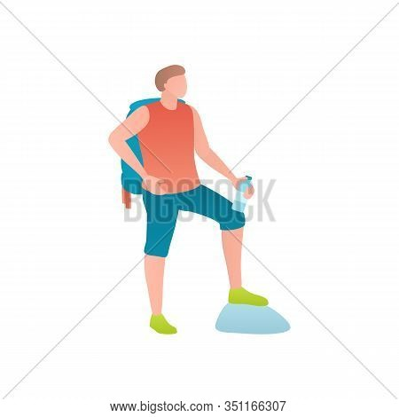 Flat Vector Illustration Of A Man With A Backpack. Young Athletic Male Tourist Travels On Foot. Trav
