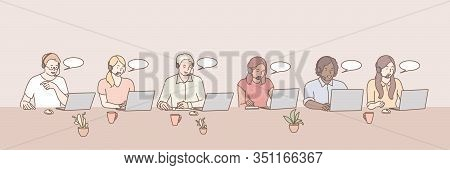 Call Center Workers Set Concept. Illustration Of Support Team At Office. Bundle Of Young Happy Men A