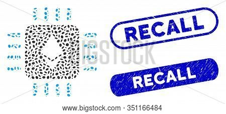 Mosaic Ethereum Processor Chip And Grunge Stamp Seals With Recall Text. Mosaic Vector Ethereum Proce