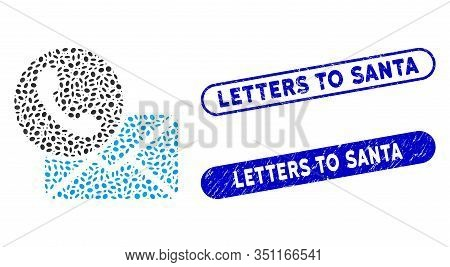 Mosaic Contacts And Corroded Stamp Seals With Letters To Santa Text. Mosaic Vector Contacts Is Creat