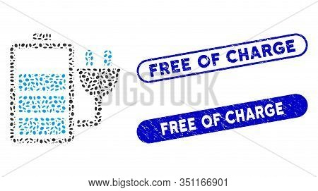 Mosaic Charge Battery And Grunge Stamp Seals With Free Of Charge Caption. Mosaic Vector Charge Batte