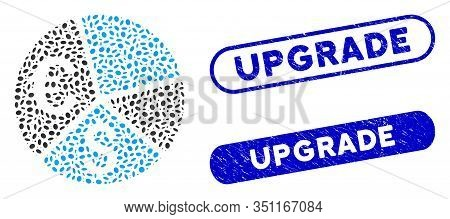 Mosaic Euro And Dollar Pie Chart And Grunge Stamp Seals With Upgrade Text. Mosaic Vector Euro And Do