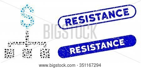 Mosaic Financial Hierarchy And Grunge Stamp Seals With Resistance Text. Mosaic Vector Financial Hier