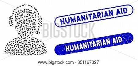 Mosaic Doctor Call Center And Corroded Stamp Seals With Humanitarian Aid Text. Mosaic Vector Doctor