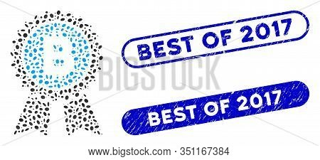 Collage Bitcoin Award Seal And Grunge Stamp Seals With Best Of 2017 Text. Mosaic Vector Bitcoin Awar