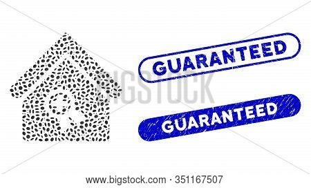 Mosaic Certified Clinic Building And Rubber Stamp Seals With Guaranteed Text. Mosaic Vector Certifie