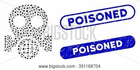 Mosaic Gas Mask And Grunge Stamp Seals With Poisoned Caption. Mosaic Vector Gas Mask Is Formed With