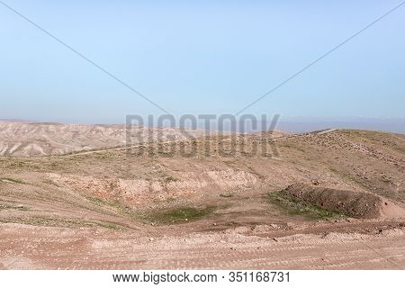 Panoramic View Of The Hills Of Samaria In Israel And The Mountains Of Jordan Visible In The Distance
