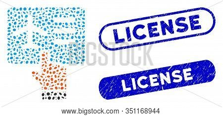 Mosaic Airline Ticket Booking And Rubber Stamp Seals With License Caption. Mosaic Vector Airline Tic