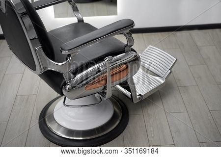Classic Vintage Barber Chair Stands Opposite Mirror Stylish White Barber Shop Interior Man Hairdress