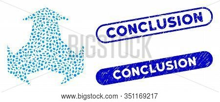 Collage Intersection Directions And Rubber Stamp Seals With Conclusion Caption. Mosaic Vector Inters